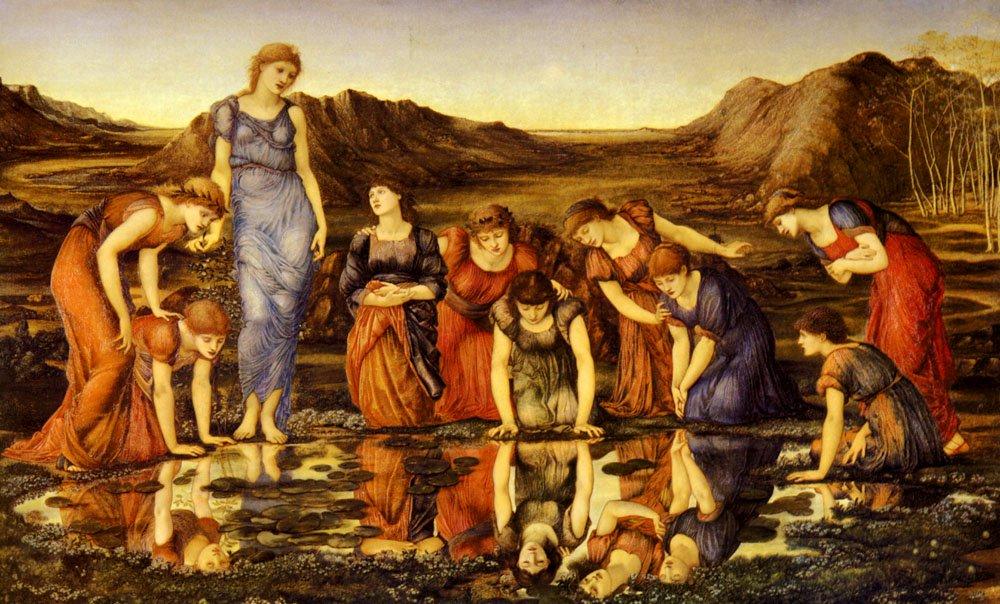 The Mirror Of Venus   Sir Edward Coley Burne-Jones   Oil Painting