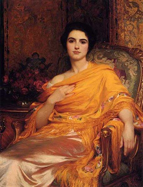 Portrait Of Elsa Daughter Of William Hall Esq   Sir Frank Dicksee   Oil Painting