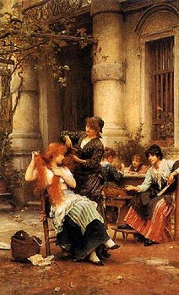 An Alfresco Toilet | Sir Samuel Luke Fildes | Oil Painting