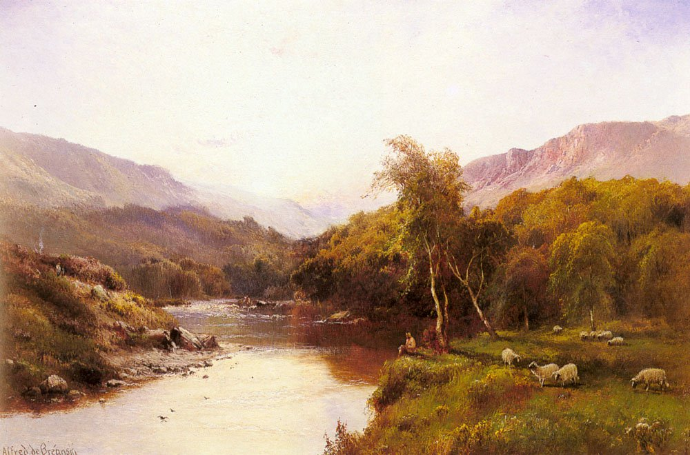 Tyn y Groes The Golden Valley | Alfred De Breanski Snr | Oil Painting