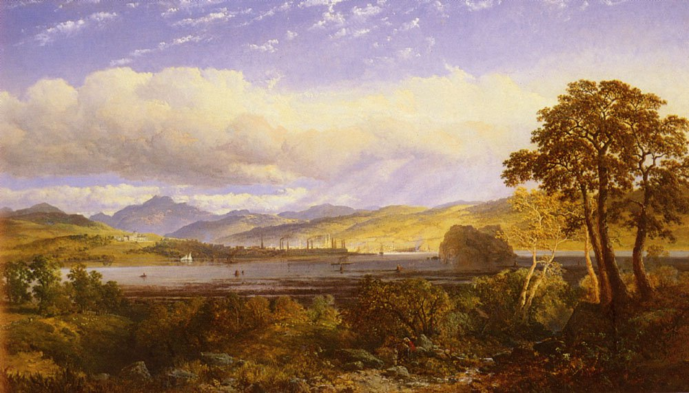 A View Of Dumbarton From The Clyde River | Snr Edmund John Niemann | Oil Painting