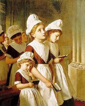 Founding Girls In Their School Dresses At Prayer In | Sophie Anderson | Oil Painting