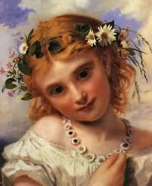 Young Girl With A Garland Of Marguerites | Sophie Anderson | Oil Painting