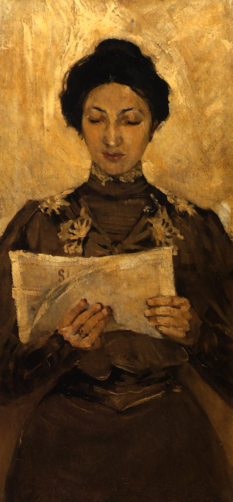 Portrait of a Woman Reading a Newspaper | Stanislaw Debicki | Oil Painting