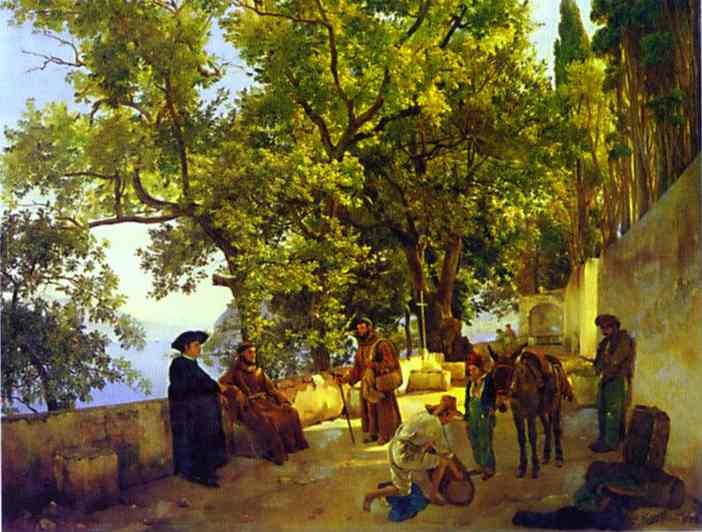 A Terrace On A Seashore A Small Town Of Capuccini Near Sorrento 1827 | Sylvestor Shchedrin | Oil Painting