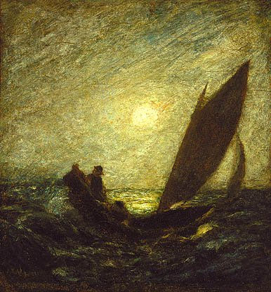 With Sloping Mast And Dipping Prow About 1880 1885 | Albert Pinkham Ryder | Oil Painting