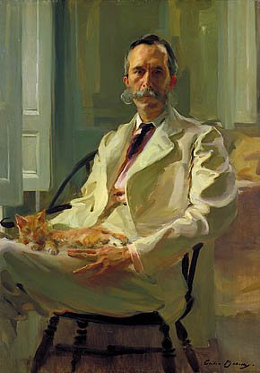 Man With The Cat Henry Sturgis Drinker 1898 | Cecilia Beaux | Oil Painting