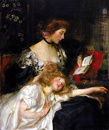 Mother And Child Lady Shannon And Kitty About 1900 1910 | James Jebusa Shannon | Oil Painting