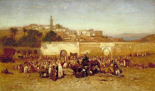 Market Day Outside The Walls Of Tangiers Morocco 1873 | Louis Comfort Tiffany | Oil Painting