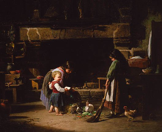 Farm Interior Breton Children Feeding Rabbits 1878 | William Henry Lippincott | Oil Painting