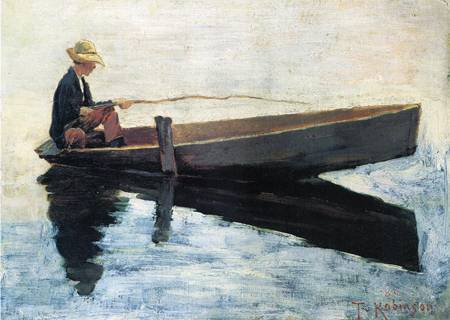 Boy in a Boat Fishing 1880 | Theodore Robinson | Oil Painting
