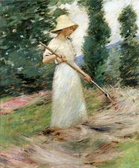 Girl Raking Hay 1890 | Theodore Robinson | Oil Painting