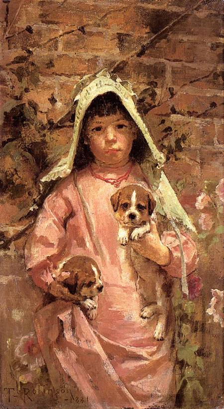 Girl with Puppies 1881 | Theodore Robinson | Oil Painting