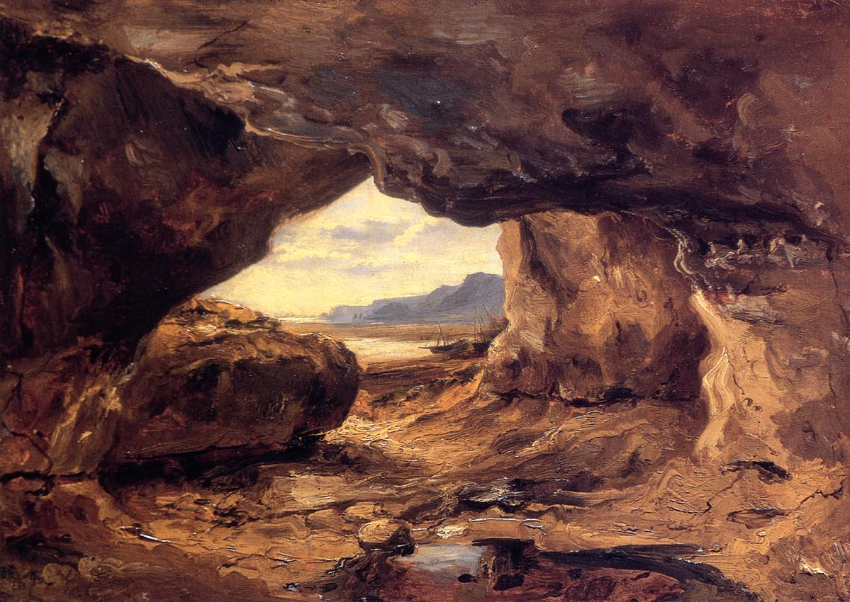 The Cave in a Cliff near Granville 1831-1833 | Theodore Rousseau | Oil Painting