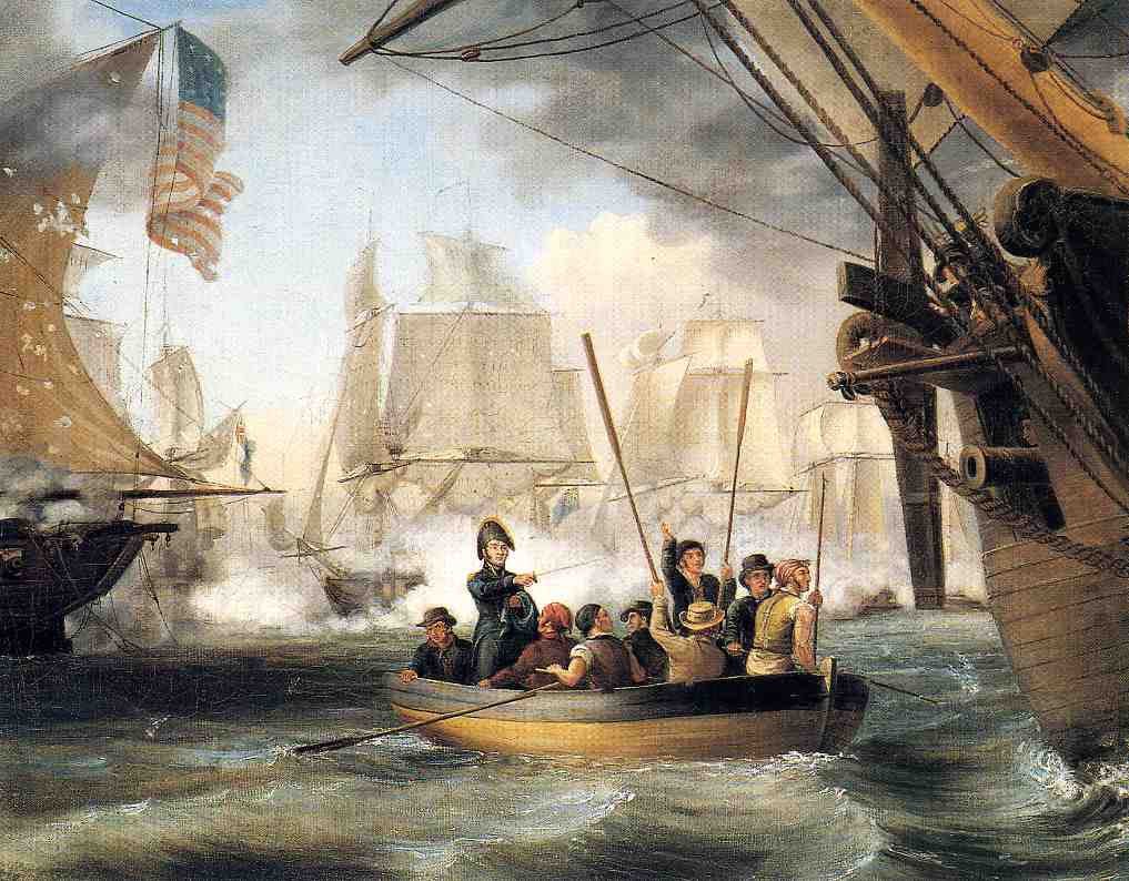 Commodore Perry Leaving the Lawrence for the Niagara at the Battle of Lake Erie | Thomas Birch | Oil Painting