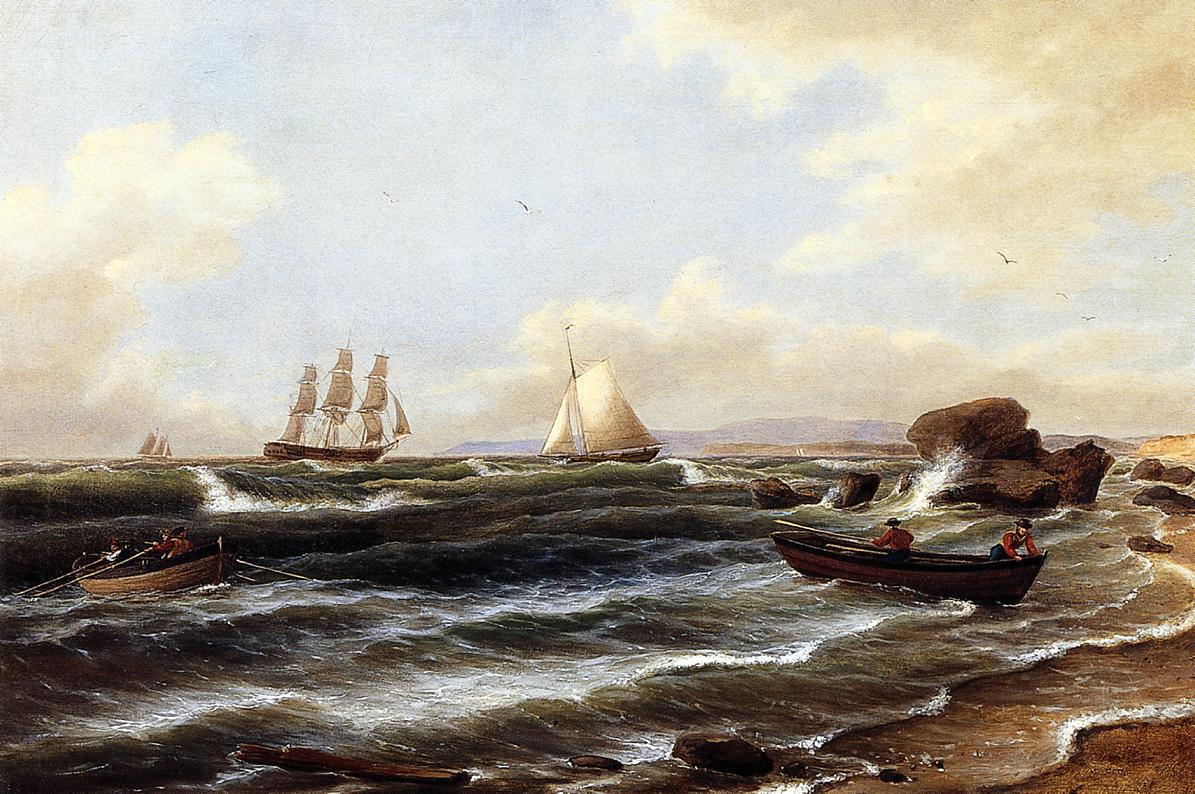 Going Ashore 1843   Thomas Birch   Oil Painting
