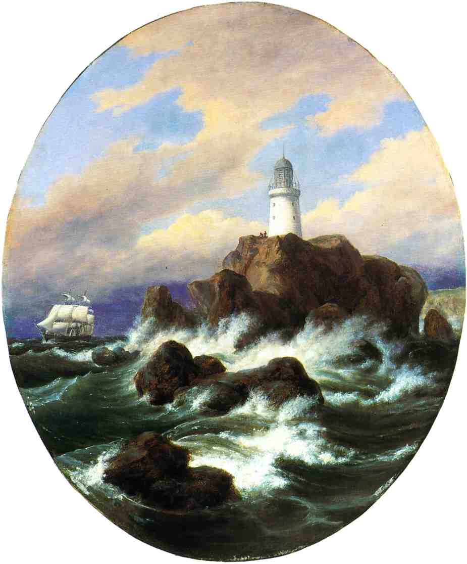 Longships Lighthouse Land's End 1849 | Thomas Birch | Oil Painting