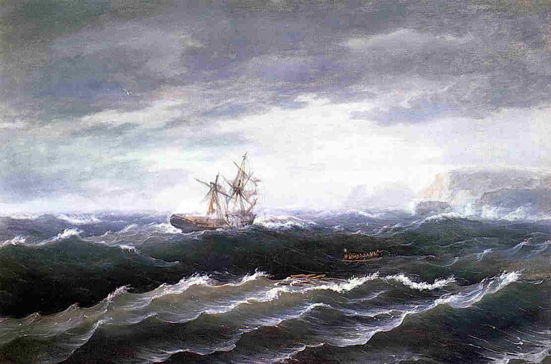 Ship at Sea aka Shipwreck 1833   Thomas Birch   Oil Painting
