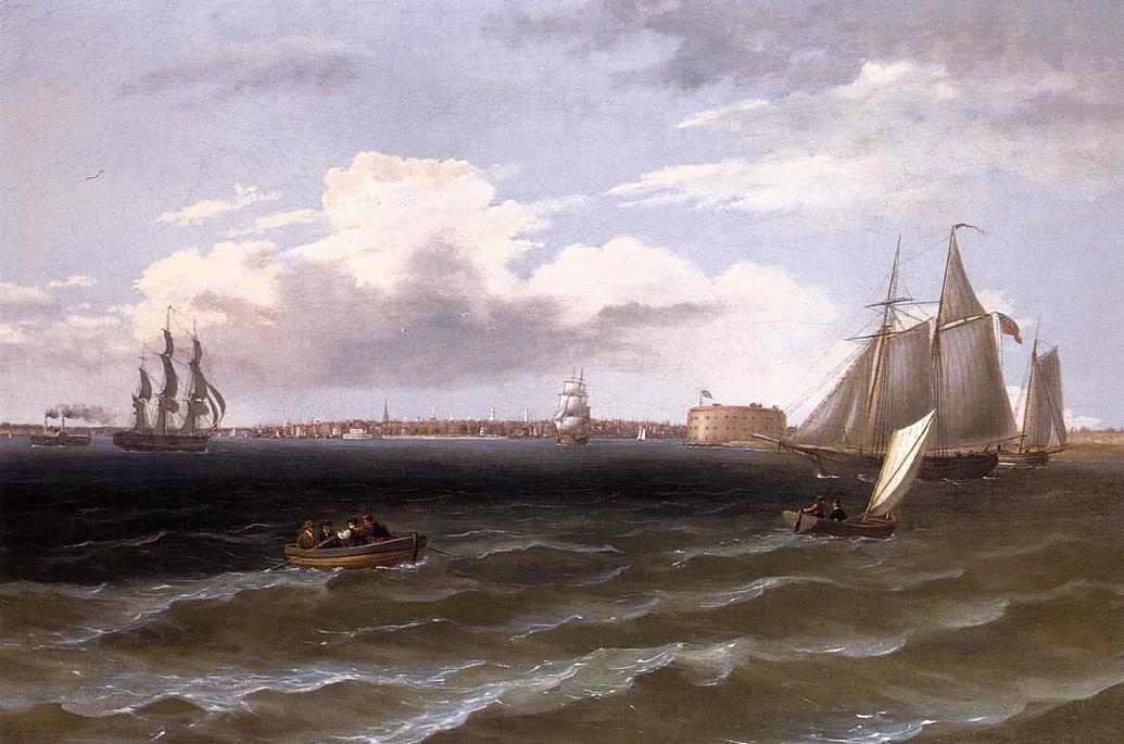 View of New York Harbor 1835 | Thomas Birch | Oil Painting