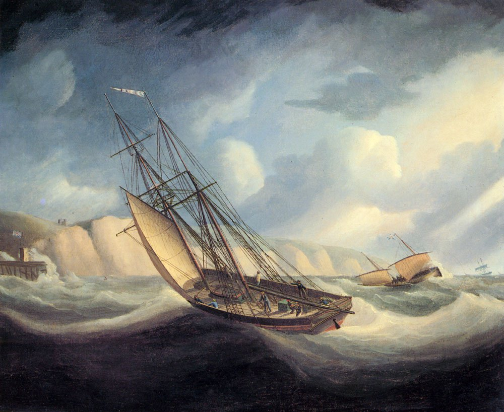 The Rapid Schooner And Deal Lugger   Thomas Buttersworth   Oil Painting