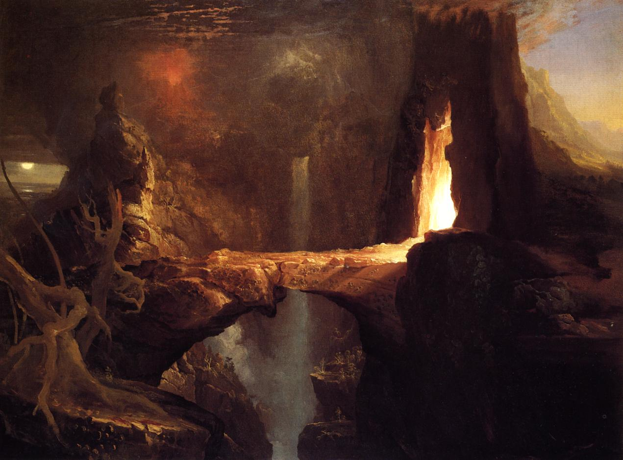 Expulsion - Moon and Firelight 1828 | Thomas Cole | Oil Painting