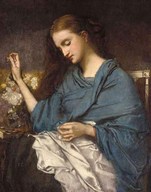Jeune Femme Cousant | Thomas Couture | Oil Painting