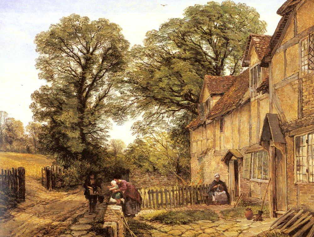 The Pedlars Visit | Thomas Creswick | Oil Painting