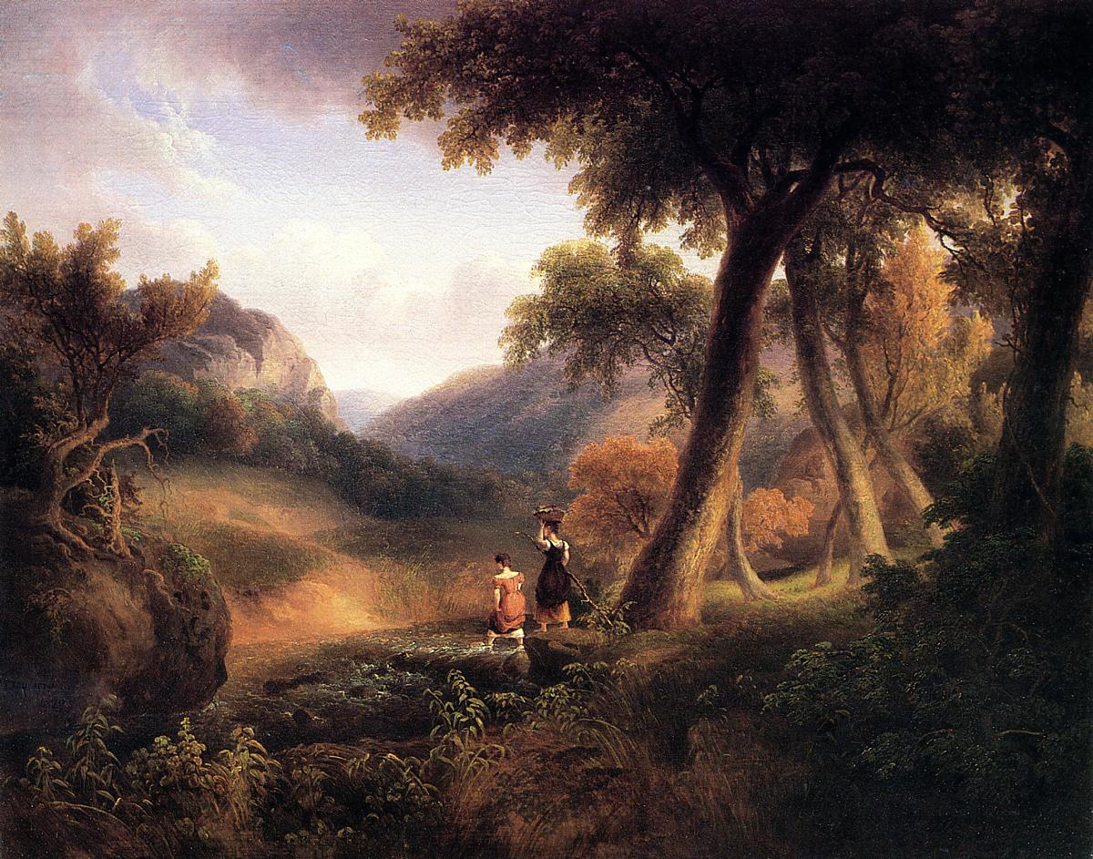 Girls Crossing the Brook  1829 | Thomas Doughty | Oil Painting