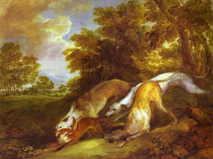 Dogs Chasing A Fox 1784-1785 | Thomas Gainsborough | Oil Painting