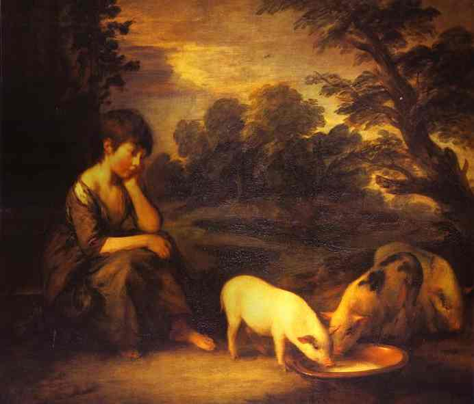 Girl With Pigs 1782 | Thomas Gainsborough | Oil Painting