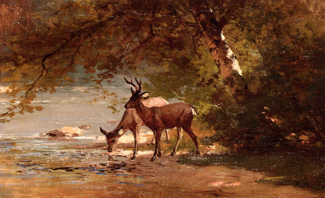 Deer in a Landscape | Thomas Hill | Oil Painting