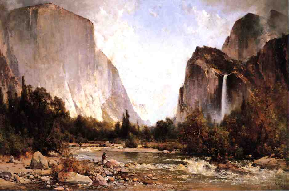 Fishing on the Merced River Yosemite Valley 1891 | Thomas Hill | Oil Painting