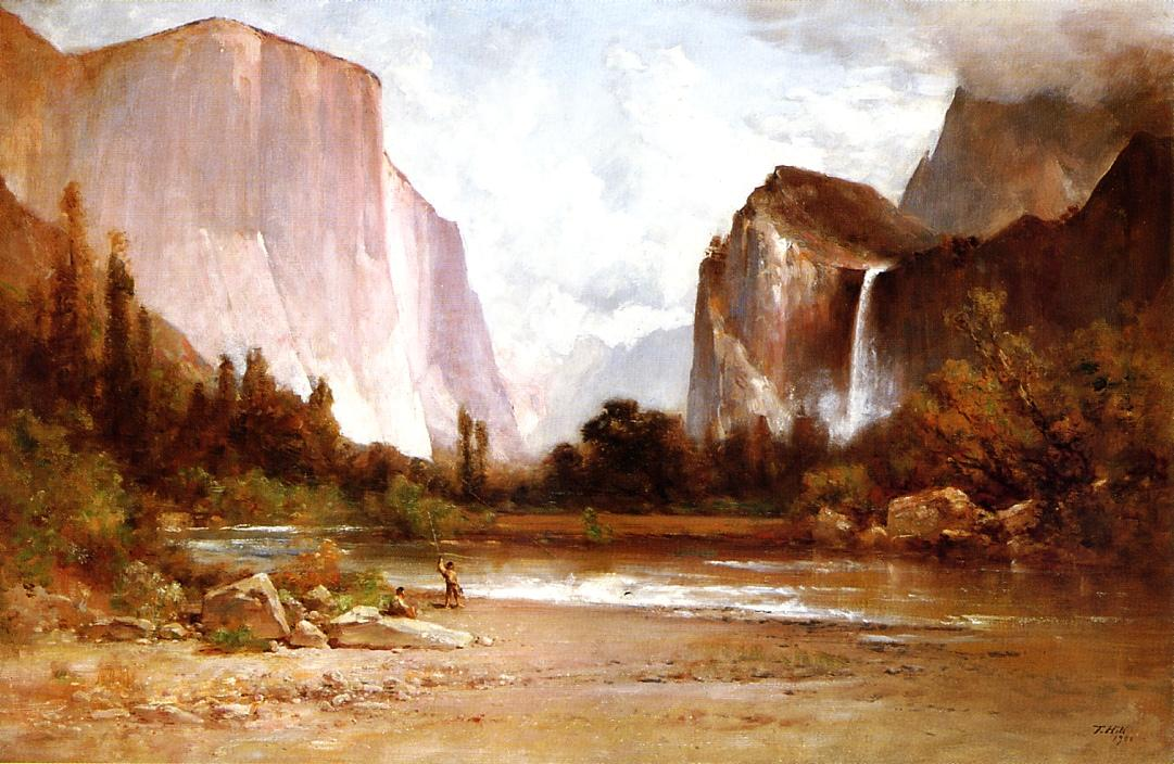 Indians Fishing in Yosemite 1900 | Thomas Hill | Oil Painting