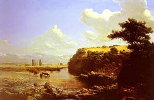 Cattle Watering In A River Landscape | Thomas Jacques Somerscales | Oil Painting
