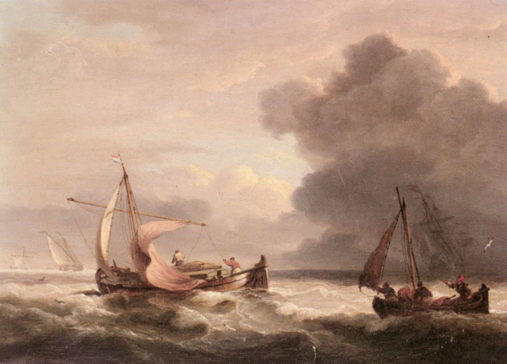 Dutch Barges In Open Seas | Thomas Luny | Oil Painting