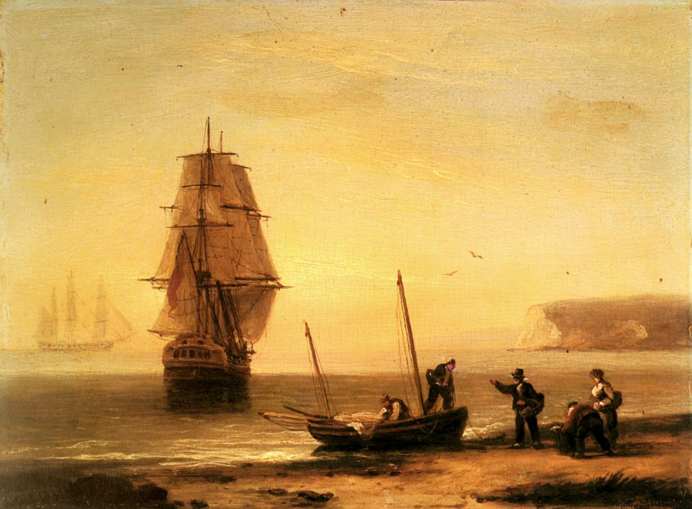 Fishermen Unloading The Catch With A Merchant Ship in Calm Water off Brymer Bay | Thomas Luny | Oil Painting