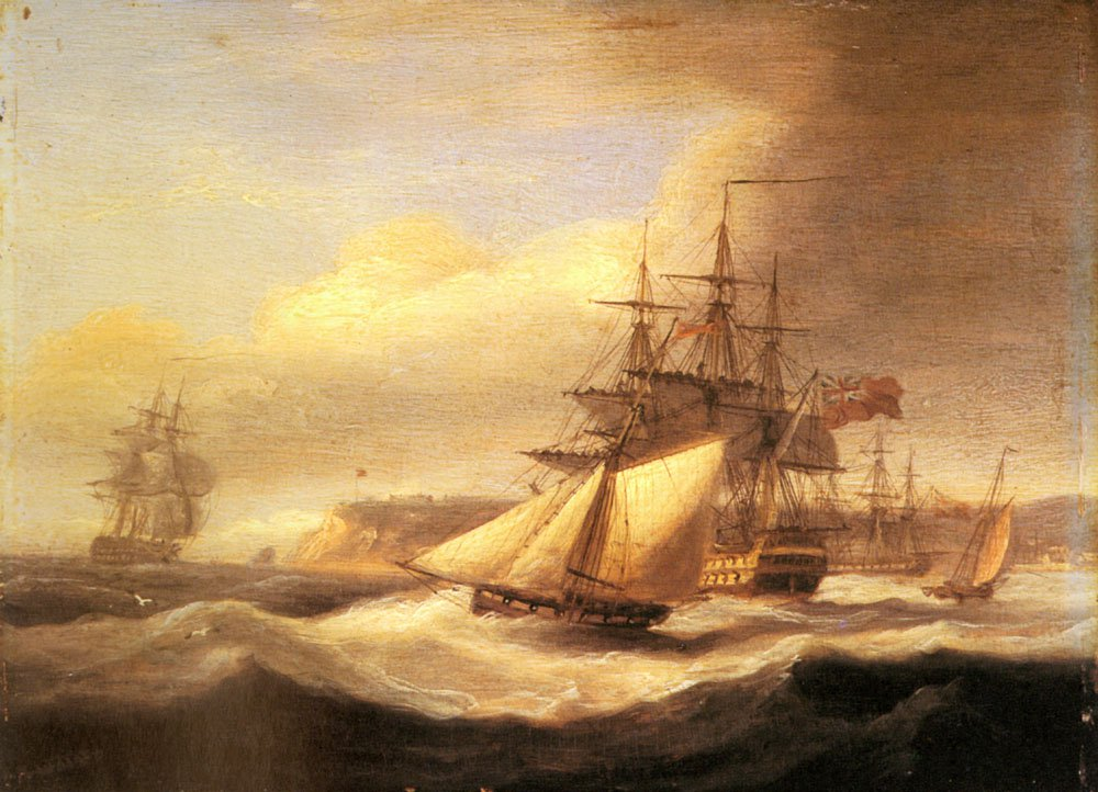Naval Ships setting Sail With A Revenue Cutter Off Berry Head Torbay | Thomas Luny | Oil Painting