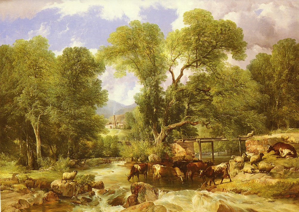 A Wooded Ford | Thomas Sidney Cooper | Oil Painting