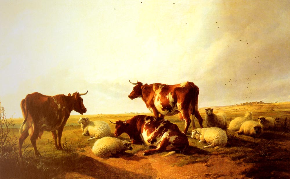 Cattle and Sheep In A Landscape | Thomas Sidney Cooper | Oil Painting