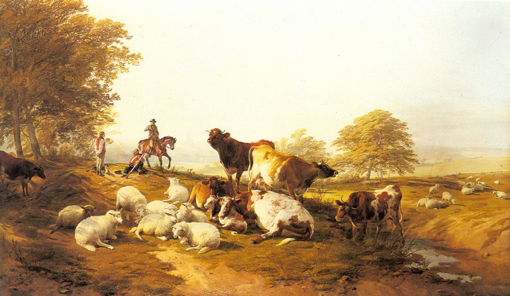 Cattle And Sheep Resting In An Extensiv | Thomas Sidney Cooper | Oil Painting