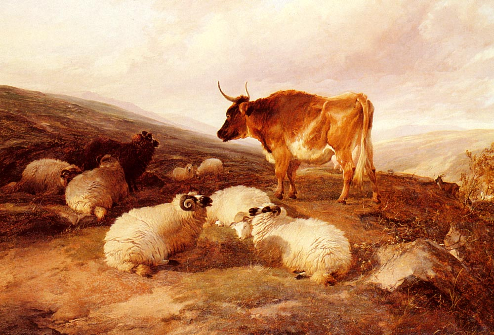 Rams And A Bull In A Highland Landscape | Thomas Sidney Cooper | Oil Painting