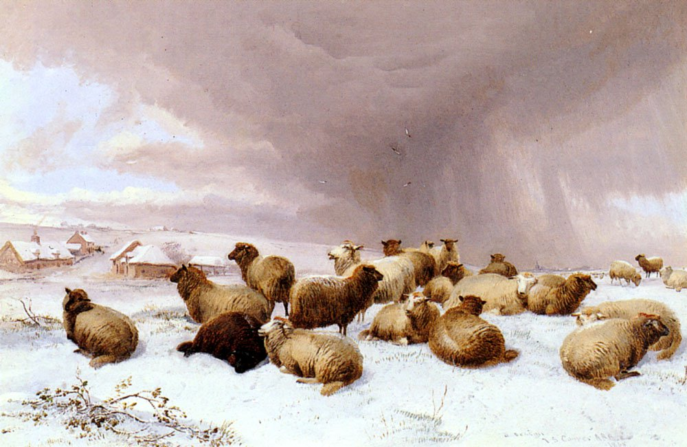 Sheep In Winter | Thomas Sidney Cooper | Oil Painting