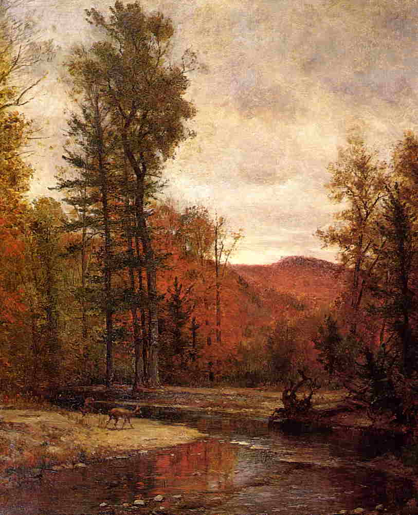 Adirondack Woodland with Two Deer 1880-1889 | Thomas Worthington Whittredge | Oil Painting