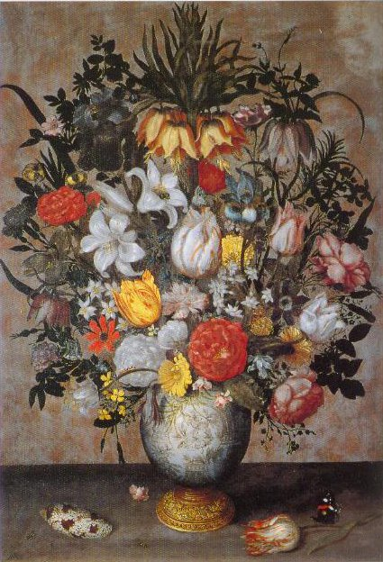 Chinese Vase With Flowers A Shell And Insects 1607 | Ambrosius Bosschaert The Elder | Oil Painting