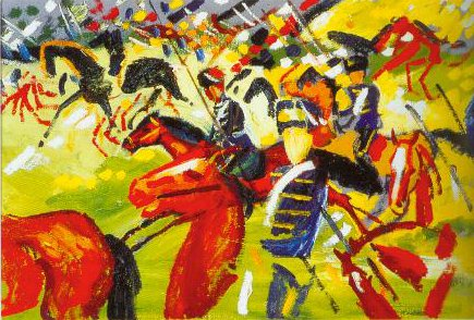 Galloping Hussars 1913 | August Macke | Oil Painting