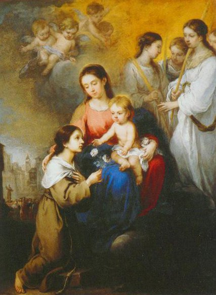 The Virgin And Child With St Rosalinsa  Of Palermo 1670 | Bartolome Esteban Murillo | Oil Painting