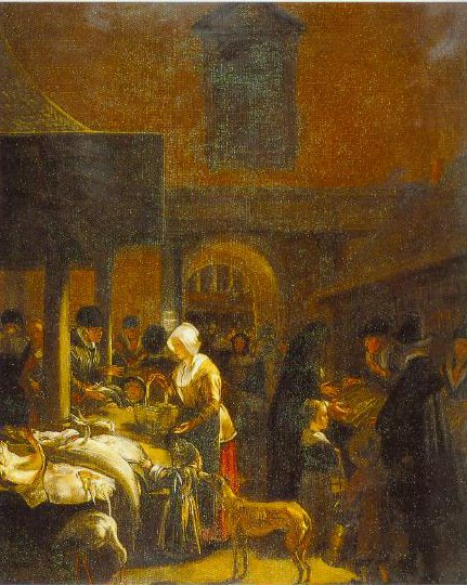 The Old Fish Market On The Dan Amsterdam 1650   Emanuel De Witte   Oil Painting
