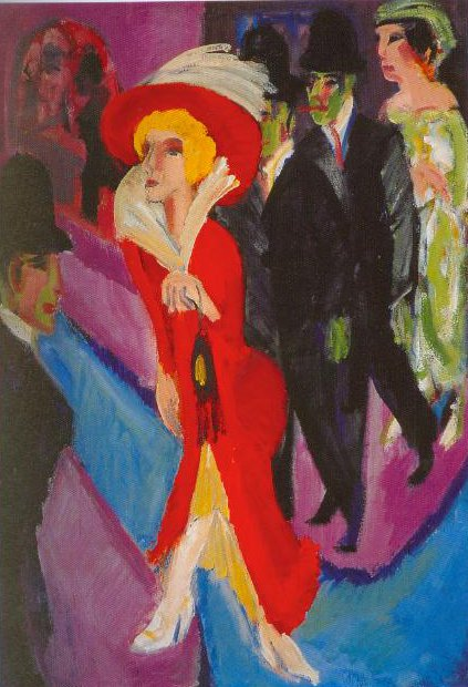 Berlin Street Scene  With Red Streetwalker 1914 1925 | Ernst Ludwig | Oil Painting