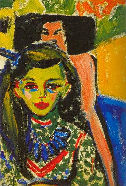 Franzi In Front Of A Carved Chair 1910 | Ernst Ludwig Kirchner | Oil Painting