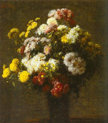 Crysanthemums In A Vase 1875 | Henri Fantin Latour | Oil Painting
